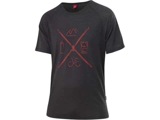 Löffler Merino Tencel T-Shirt Men, czarny/czerwony